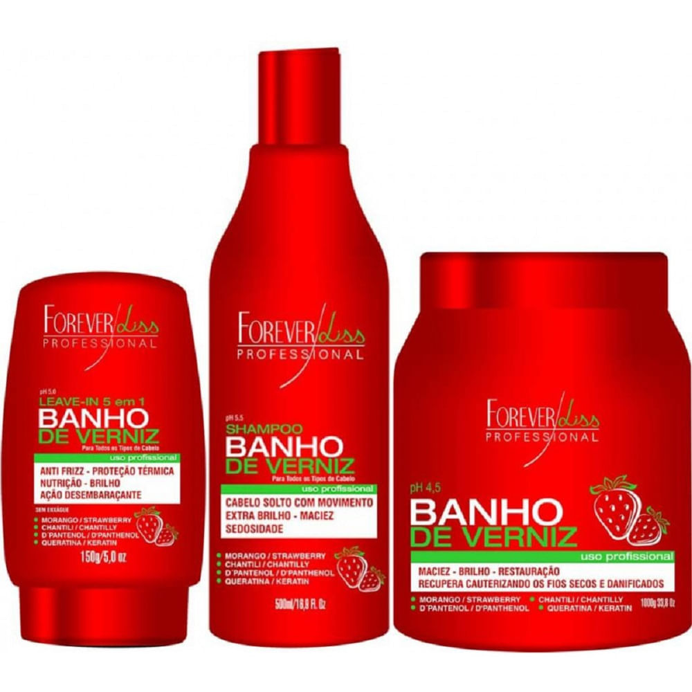 b569cdffa6ea0 Kit Banho de Verniz Morango Profissional Forever Liss - elegancianaweb