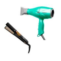 kit-secador-fox-ion-soft-green-e-prancha-look-450-taiff-eufina-cosmeticos